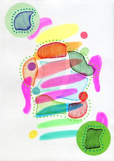 Abstract collage of organic and geometric forms realised using fluorescent bright colours.