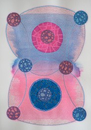 Abstract collage of organic and geometric forms realised with deep blue and pink colours.