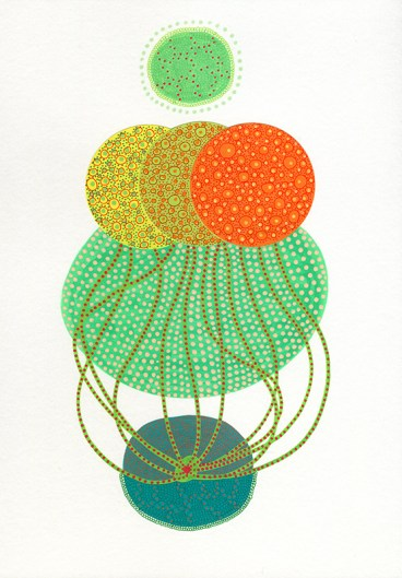 Abstract collage of organic and geometric forms realised using yellow, orange and green colours.