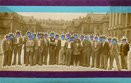 Collage over a vintage group photo decorated with pens and washi tape.
