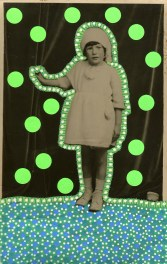 Collage on vintage baby girl portrait decorated with neon green stickers and green pens.