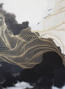 Abstract painting of golden fluid lines moving over a black and white background.