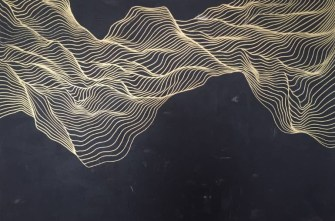 Abstract paintings of fluid golden lines over a black background.