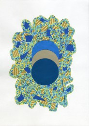 Abstract collage of organic and geometric forms realised with green, yellow and blue shades.