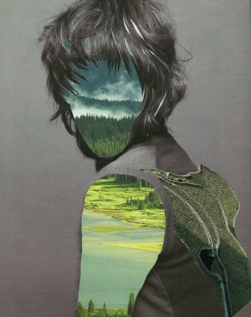 Collage of a faceless woman, her face and body is covered by a natural landscape.