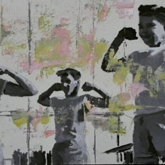 Painting of a group of boys making some gym exercises.