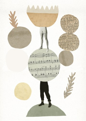 Paper collage of two pair of legs surrounded by circular elements.