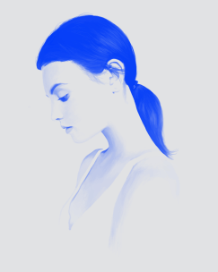 Illustrations of a female three quarter profile portrait coloured with pastel light blue and electric blue.