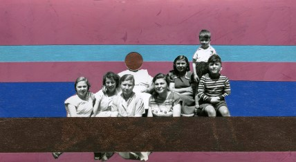 Group vintage photo decorated with pens, stickers and washi tape.
