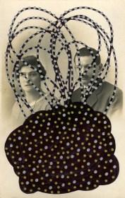 Vintage couple portrait photo altered with pens.