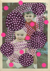 Collage over a vintage colour photo portrait of two kids.