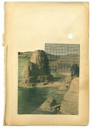 Collage of a landscape over a vintage paper.