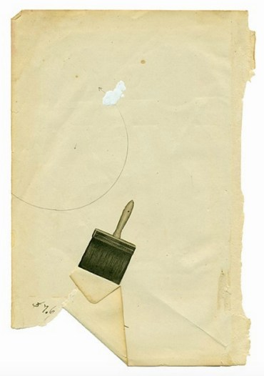 Minimalist dada style collage of a brush putted over a vintage paper.