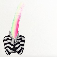 Collage of an headless person with a rainbow coming out from the head.