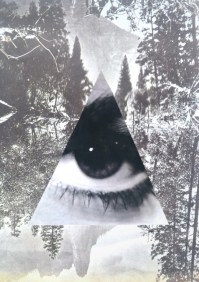 Landscape picture with a giant triangular paper cut of an eye.