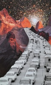 Traffic street full of cars running over a surreal rocky landscape.
