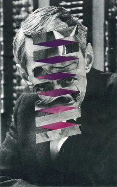 Geometric collage over a defaced vintage man portrait.