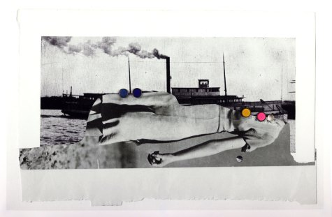 Collage of a ship and a half woman body.