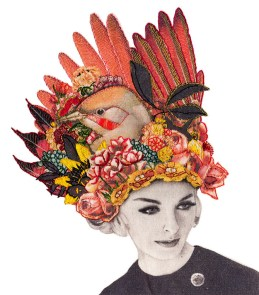 Vintage woman portrait with an intricate hand stitched nature inspired decoration over her head.