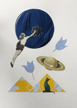 Female full body paper cut floating in the air and entering into a giant blue hole.