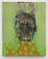 Green and orange defaced portrait painting.