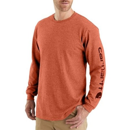 WORKWEAR LONG-SLEEVE GRAPHIC LOGO T-SHIRT (AMBERWOOD HEATHER)