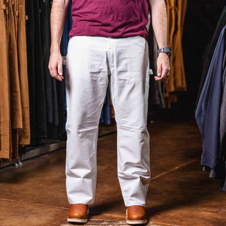 RELAXED FIT STRAIGHT LEG COTTON PAINTER'S PANT (WHITE)