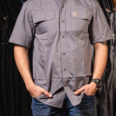 Force Men's Relaxed-Fit Lightweight SS Button-Front Plaid Shirt (Asphalt)
