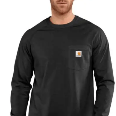 CARHARTT FORCE® COTTON DELMONT LONG-SLEEVE T-SHIRT (BLACK)