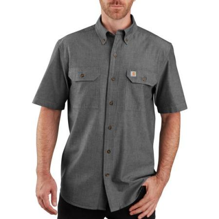 ORIGINAL FIT MIDWEIGHT SHORT-SLEEVE BUTTON-FRONT SHIRT (BLACK CHAMBRAY)
