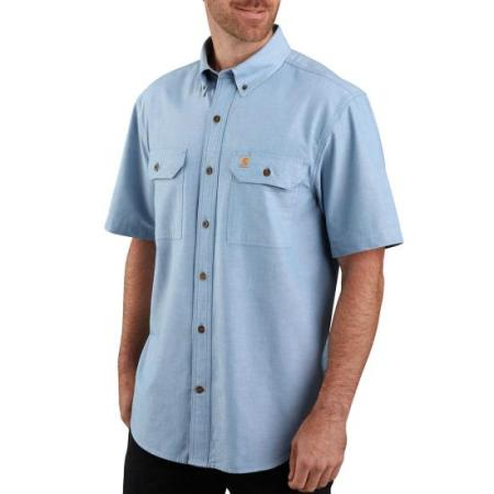 ORIGINAL FIT MIDWEIGHT SHORT-SLEEVE BUTTON-FRONT SHIRT (CHAMBRAY BLUE)