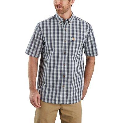 Men's Relaxed-Fit Lightweight SS Button-Front Plaid Shirt (Bluestone)