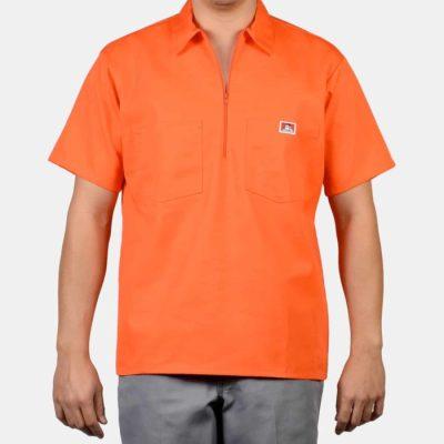 Short Sleeve Solid, 1/2 Zip (Orange)