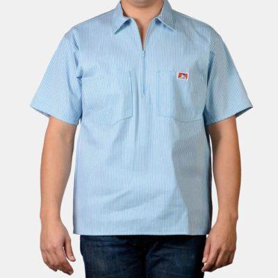 Short Sleeve Stripe, 1/2 Zip  (Blue)