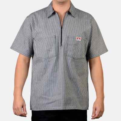Short Sleeve Stripe, 1/2 Zip  (Black)