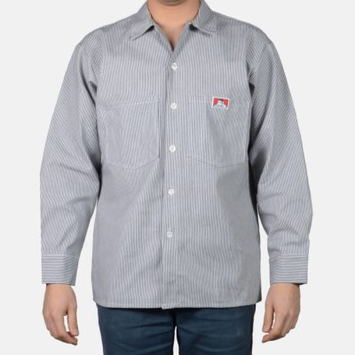 Poly/Cotton Long Sleeve Striped Button-Up (Hickory)
