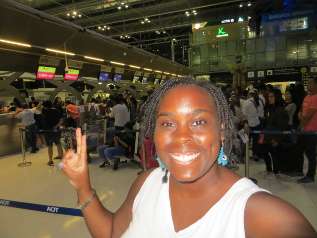 Me at the airport with my new hairdo, September, 13, 2016