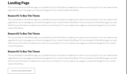 Author Pro- Landing page of your theme will look like this