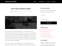 Parallax Pro- Post with right sidebar using page template