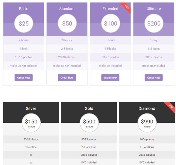 Pricing Table with The7 Theme
