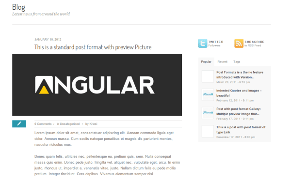 Angular- Blog page layout with this theme