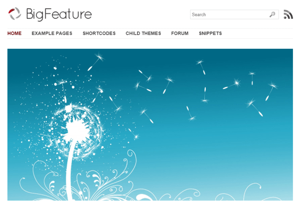 BigFeature- Front page of theme showing featured image