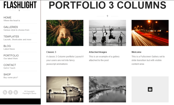 Flashlight- Portfolio layout with 3 or 2 columns layout and amazing hover effects