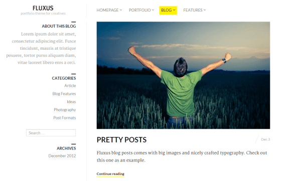 Fluxus- This theme also supports blog with horizontal and vertical layout