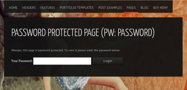 Password protected page of Invictus