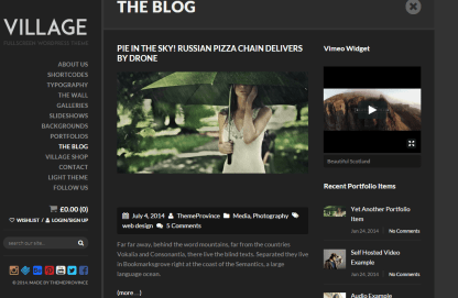 Village- This theme supports classic blog page layout