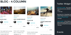 Event-  Blog layout with 1 to 4 columns supported and fullwidth as well