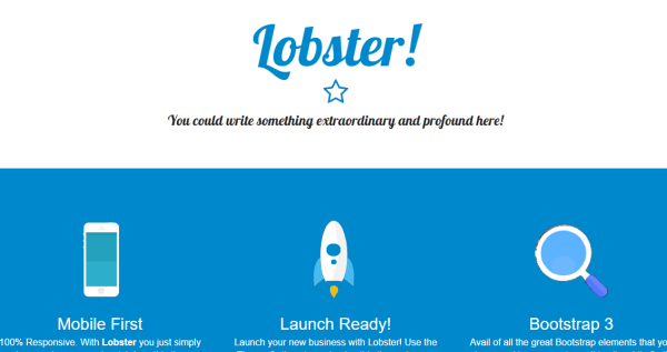 Home page of Lobster theme