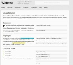 Website- A view of shortcodes supported in th Website Theme