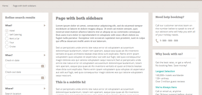 BookYourTravel- Page layout with both sidebars as well as with left/right/no sidebar is supported